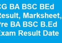 CG BA BSC BEd Result