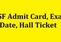 CISF Driver Admit Card