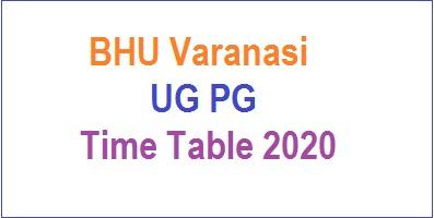 BHU Varanasi UG PG Time Table
