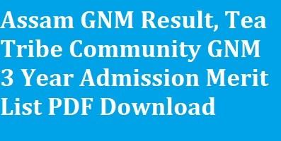 Assam GNM Result