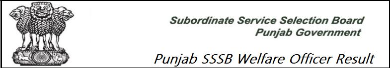 Punjab SSSB Welfare Officer Result