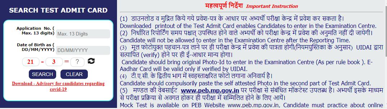 MP ANMTST Admit Card