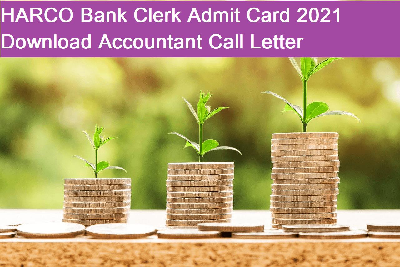 HARCO Bank Clerk Admit Card