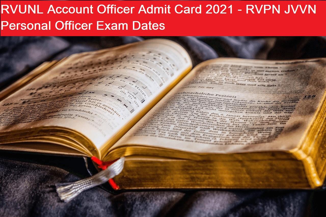 RVUNL Account Officer Admit Card