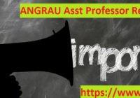 ANGRAU Assistant Professor Recruitment