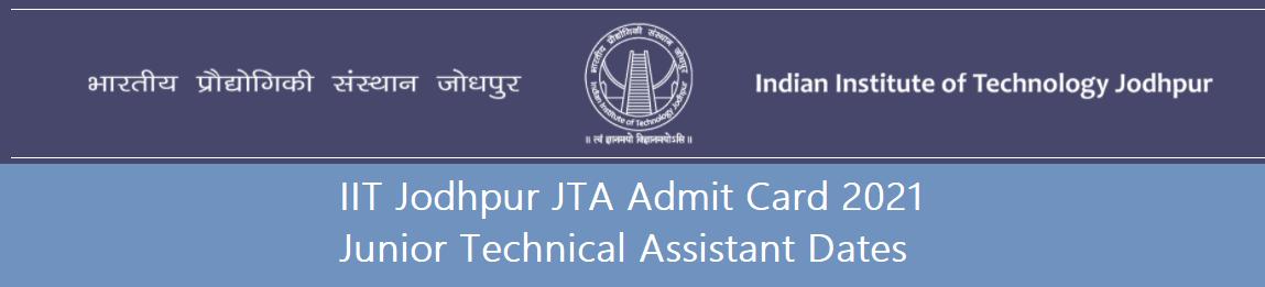 IIT Jodhpur JTA Admit Card