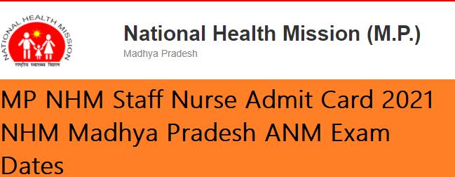 MP NHM Staff Nurse Admit Card
