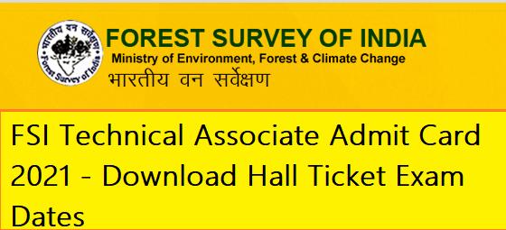 FSI Technical Associate Admit Card