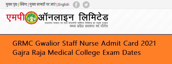 GRMC Gwalior Staff Nurse Admit Card