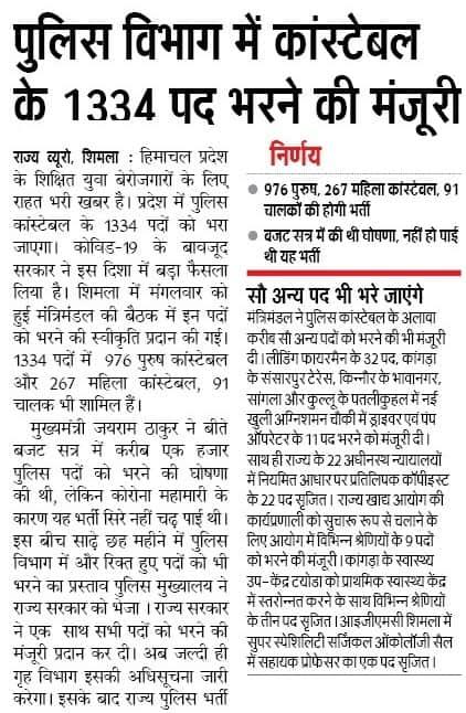 Himachal Pradesh Police Constable Vacancy 2021