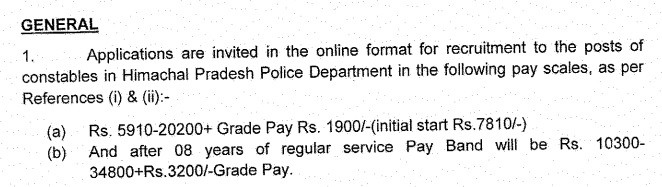 HP Police Constable Pay Scale